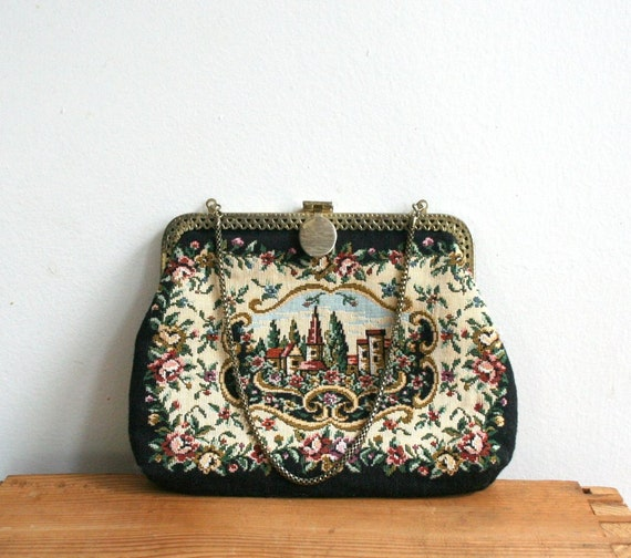 Black Tapestry Purse with Golden Chain