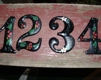 Vintage Tole Painted House Numbers