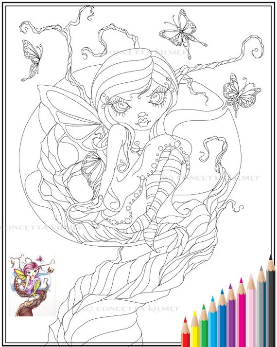 Maiden of the Butterflies - Printable Download PDF Coloring Page