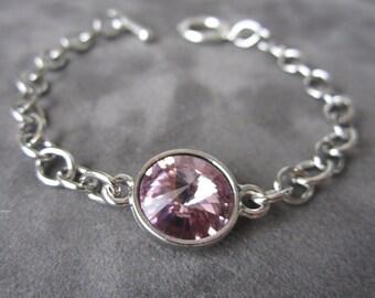 June Birthstone Bracelet, Birthstone Jewelry, Silver, Light Purple Crystal, Amethyst, Alexandrite Bracelet