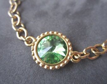 Gold August Birthstone Bracelet, Light Green Crystal Birthstone Jewelry, Peridot Bracelet