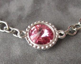 October Birthstone Bracelet, Swarovski Crystal Birthstone Jewelry, Silver, Pink Tourmaline Bracelet