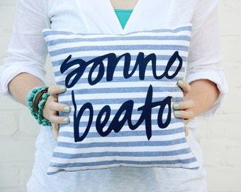 SALE Navy Striped Pillow Sonno Beato 12x12 inches