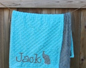 Personalized Monogrammed Chevron Elephant Crib Blanket in Turquoise and Gray Minky