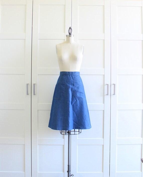 70s 1970s Denim Skirt, Midi A Line Skirt with Pockets, Blue Pocket Skirt, size Small RESERVED