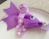 Fish Hair Clip - Purple Goldfish - Baby Hair Clip - Ribbon Sculpture - Hair Bow - Purple Clippie - Girl Hair Clip - Infant Hair Clip