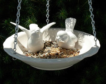 Hanging Bird Feeder - White (birds sold seperately)