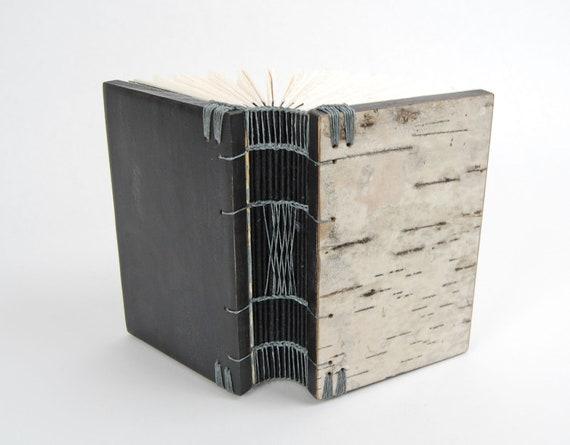 handmade journal  wood book - birch bark - black small autumn woodland gray  rustic- ready to ship