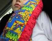 Seat Belt Pillow w Pocket - Made To Order - DESIGN Your OWN with LICENSED Fabric Prints
