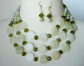 Green Statement Necklace, Big Chunky Multi Strand Necklace, Large Bead Gemstone Necklace, 2 Piece Set, Celedon, Celery