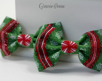 Green And Red Christmas Hair Bows - Set Of 2