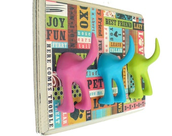 Leash Holder - Triple Tail -  Patchwork Paws - Personalize with Optional Letter Tiles