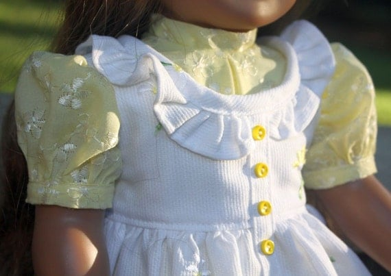 Yellow and White Pinafore, Dress and Hat