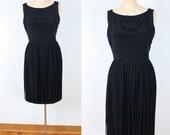 Vintage 60s Black Long Fringe Cocktail Dress