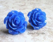 Rose Earrings, Dark Blue, Large Size, Hypoallergenic Surgical Steel Posts, Comfort Disc Backings