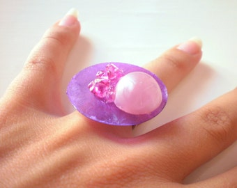 purple and pink button ring (free combined shipping)