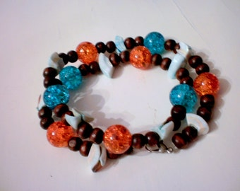 Mediterranean crackle necklace /beach/ summer/free shipping