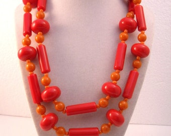 Bright orange and red chunky plastic sixties bead necklace