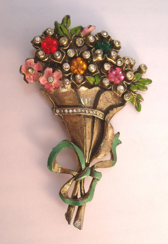 Gorgeous large flower bouquet brooch with enamel, rhinestones and molded glass flowers.