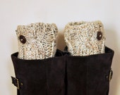 BOOT CUFFS Socks Button Leg Warmers Choose COLOR  Oatmeal Beige Wheat Cozy Earth Neutral Forest Nature Knit Gift under 50
