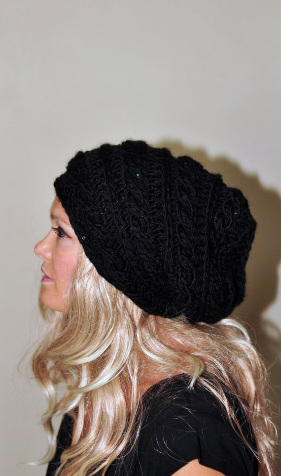 Slouchy Hat Slouchy Beanie Cabled Hand Knit Braided Winter Adult Teen CHOOSE COLOR Black Midnight Dark Chunky Gift under 50