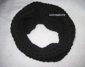 Crochet Chunky Cowl In Black Ready To Ship (single wrap)