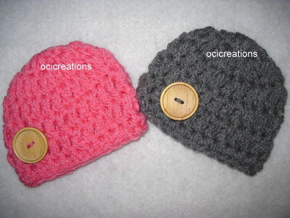 Twin Hats Baby Crochet Photo Prop READY TO SHIP Dark Pink Dark Grey