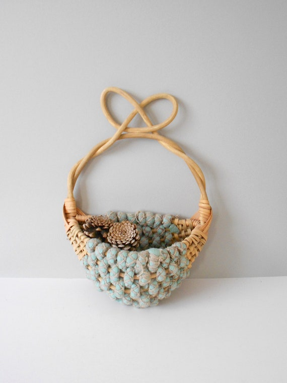 shabby chic country wooden turquoise wall hanging basket