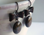 Brown Bow - Drop Earrings -  Bronzite - Stone Jewelry - Dangle - Dark Antiqued Brass - Under 25 - 3pearls