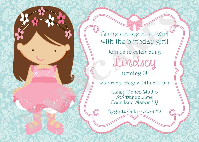 Ballerina Princess Birthday Invitation DIY Print Your Own