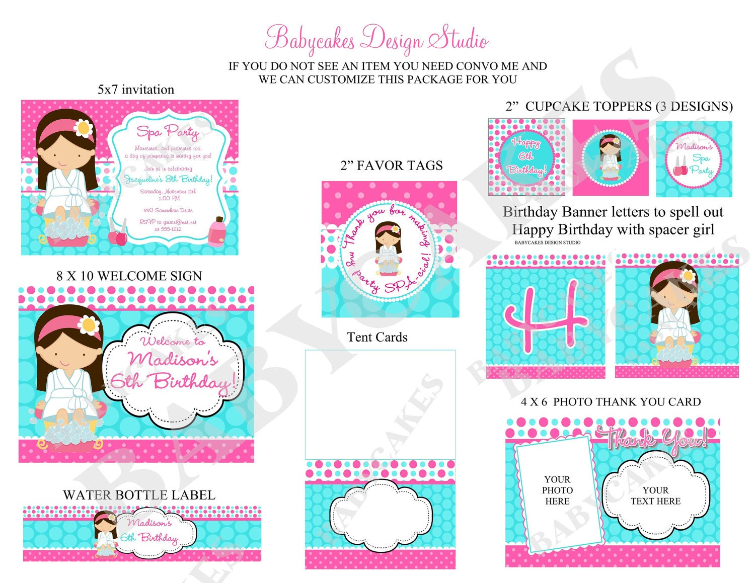 Spa Party Printable Package Choose your girl by jcbabycakes