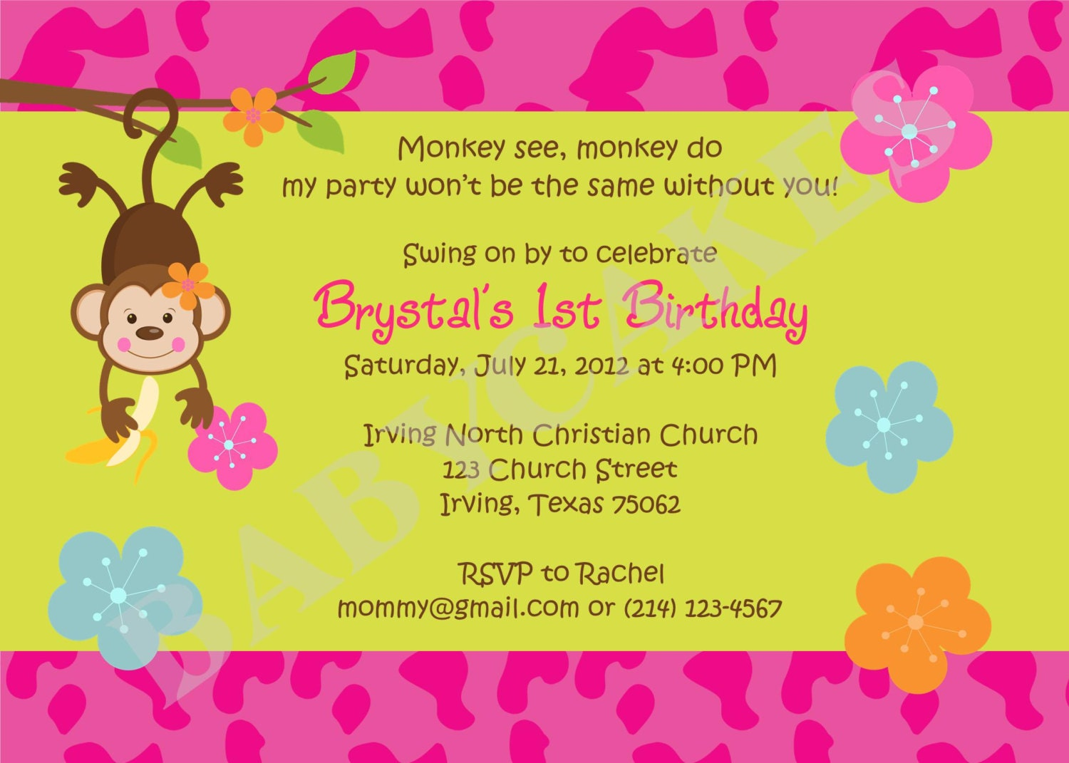 Monkey love party invitations - photo#5