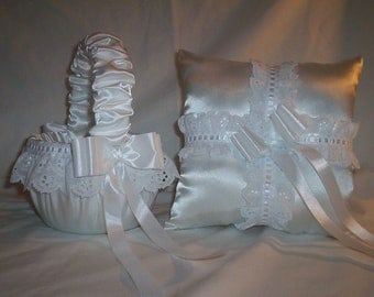 White Satin With White Eyelet Lace Trim Flower Girl Basket And Ring Bearer Pillow Set 1