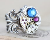 Steampunk Ring Statement Ring Custom Made Mothers Ring Birthstone Ring Unique Grandmothers Ring