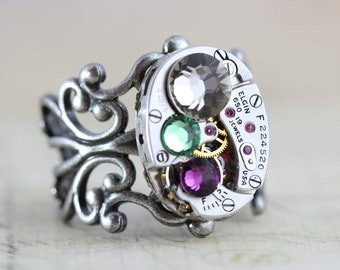 Mothers Ring Steampunk Ring Steampunk Jewelry Filigree Custom Made Jewelry Unique Birthstone Ring Watch Ring Personalized Grandmothers Ring