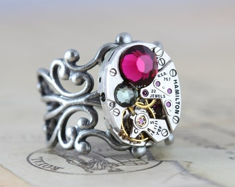 Steampunk Ring Watch Ring Pink Gray READY TO SHIP Steam Punk Jewelry Fuschsia Black Diamond Swarovski Crystals Filigree Ring Adjustable