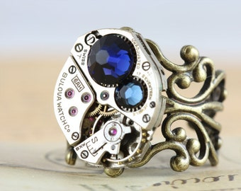 Unique Mothers Ring Antique Brass Birthstone Ring CUSTOM Steampunk Ring Personalized Grandmothers Ring