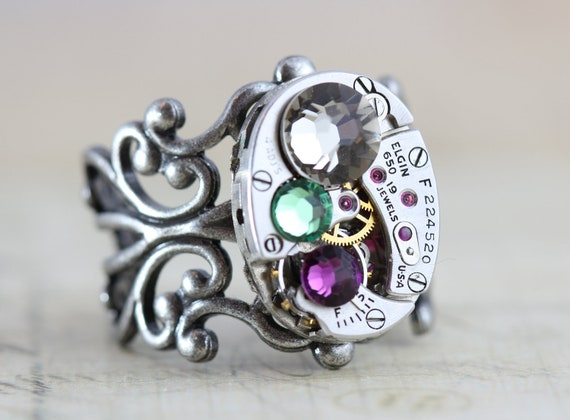 mothers ring steunk ring steunk jewelry filigree custom