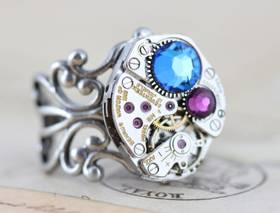 Mothers Day Gift Unique Mothers Ring Steampunk Ring Statement Ring Custom Made Mothers Ring Birthstone Ring Unique Grandmothers Ring