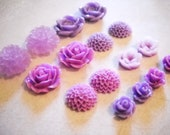 Flower Cabochons Purples Assorted Styles and Sizes 10mm,13mm,18mm,20mm 16 pieces