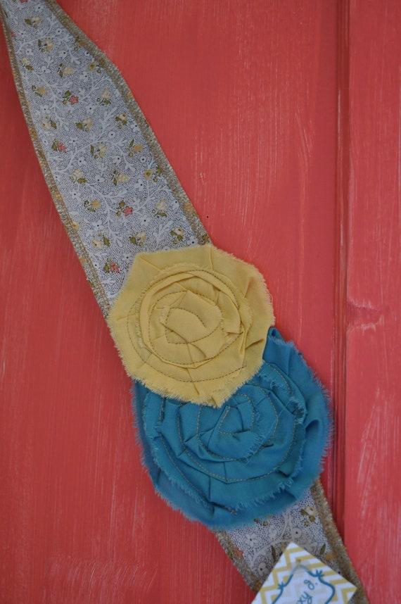 Blue & Yellow Fabric Tie Back Headband