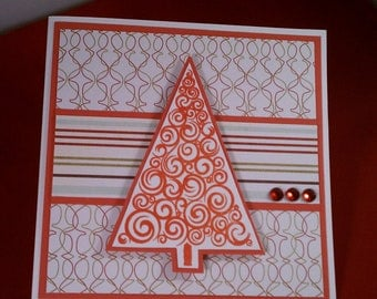 Merry Christmas Red Tree Stamped Card
