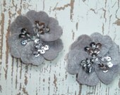 Felt Flowers- Treasury Featured - Felt Sequin Centered - Silver Grey - Set of TWO