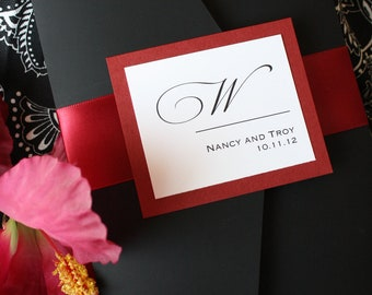 Luscious Ruby Red and Black Noir Pocketfold Wedding Invitation