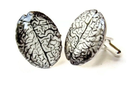 Brain Cuff Links  Cufflinks Anatomical Anatomy Anatomically Correct Black and White Gag Gift Unisex, Nerds, Men