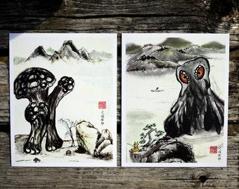Suiboku Monsters Hedora & Matango Print Set of 2 // Ink Paintings // Whimsical Art // Japanese Art // Landscape // Surreal