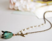 Tulip Necklace. Verdigris Patina Brass Tulip Petal necklace. Tulip with Swallow Bird White Pearls Necklace. mothers day gift, gift for mom