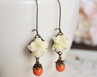 Ivory Flower Swarovski Orange Coral Pearls Earrings Cream Flower Dangle Earrings Vintage Style Coral Wedding Bridesmaid Earrings