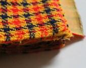Vintage Bonded Wool Fabric Orange Red Yellow Blue Plaid 3Yds 3 Yards