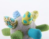 Teething ooak  cloth star - funky light gray ball or Star all handmade in Green, blue, turquoise striped and  polka dots